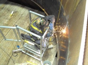 Steel Plate Being Welded In To Position