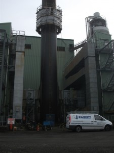 Scaffold Access on 73.2m Steel Chimney