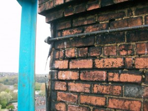 Perished Mortar Joints & Deteriorated Retaining Band Steelwork