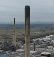 151M HIGH CONCRETE CHIMNEY WORKS UK OIL REFINERY